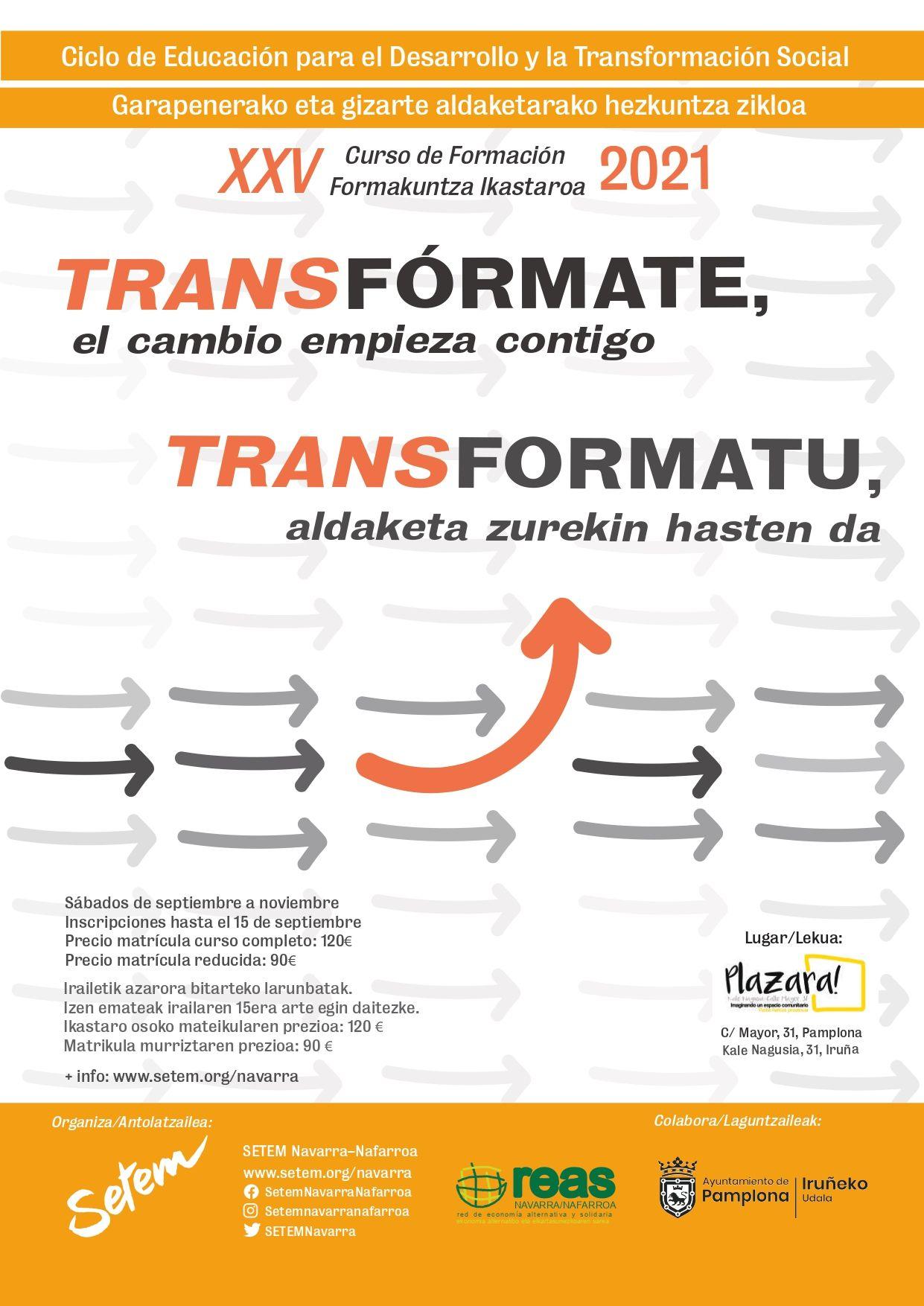 Cartel curso 'TRANSFÓRMATE, el cambio empieza contigo'.