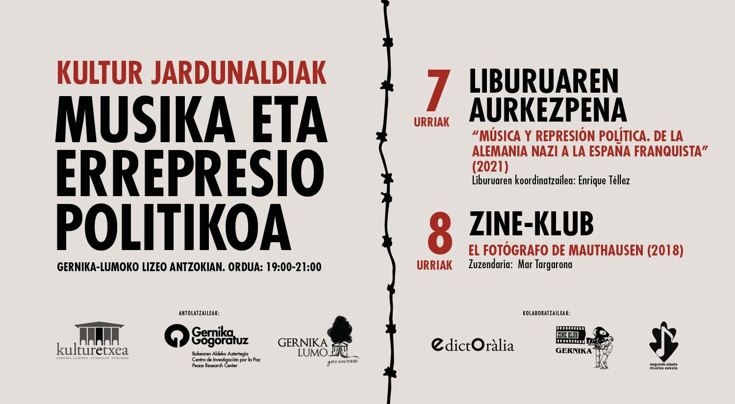 """Cartel del evento """"JORNADAS CULTURALES: """"MÚSICA Y REPRESIÓN POLÍTICA"""""""