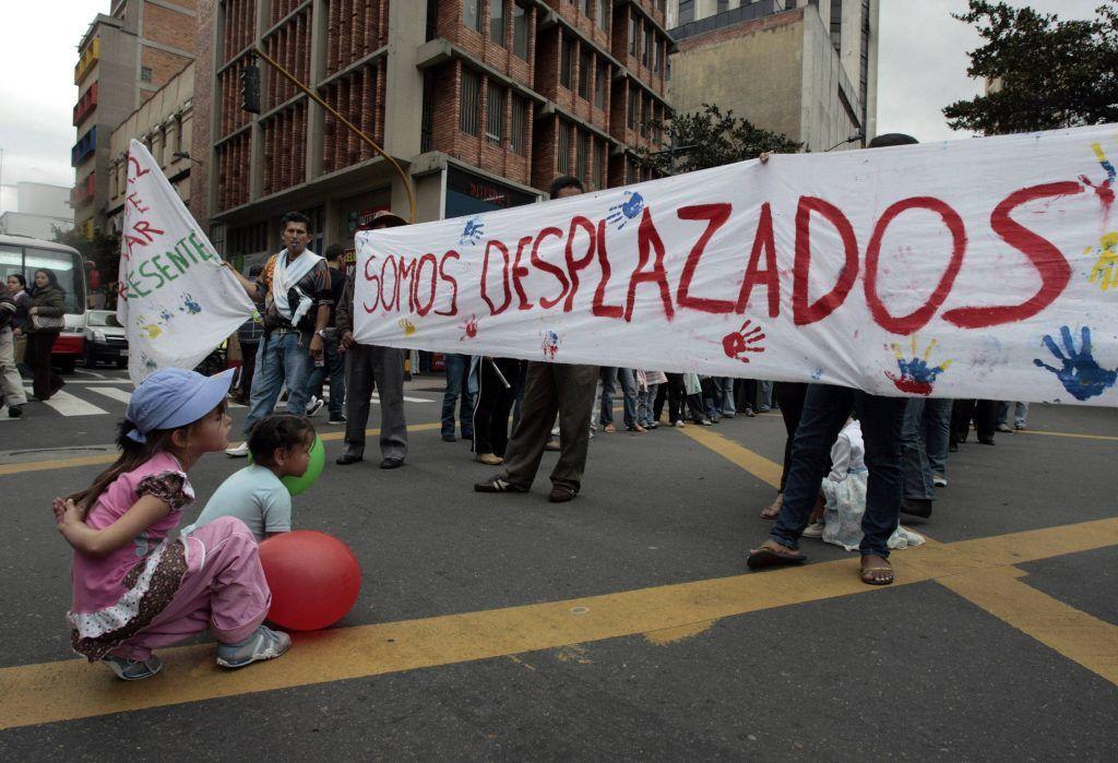 Manifestación desplazamiento forzado en Colombia