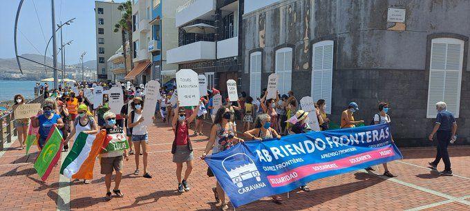 Imagen de la manifestación del segundo día de la Caravana Abriendo Fronteras