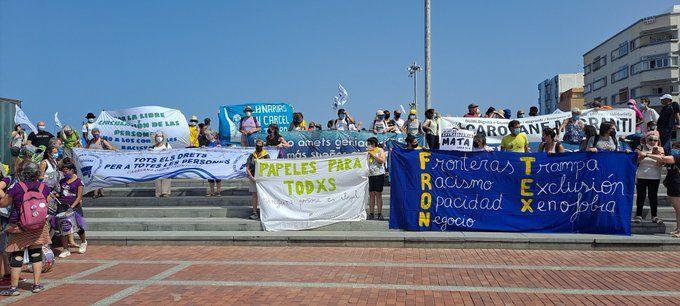 Manifestación para denunciar las políticas migratorias criminales