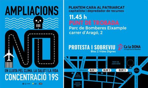 """Cartel de la concentración """"No a la ampliación del aeropuerto"""""""