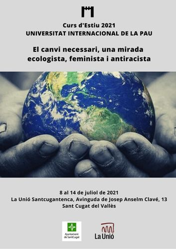 """Cartel de la XXXVI edición del curso de verano 'El cambio necesario. Una mirada ecologista, feminista y antirracista""""."""