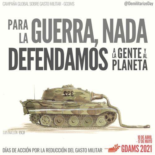 Cartel de la GCOMS para la Campaña de los días de acción para la reducción del gasto militar