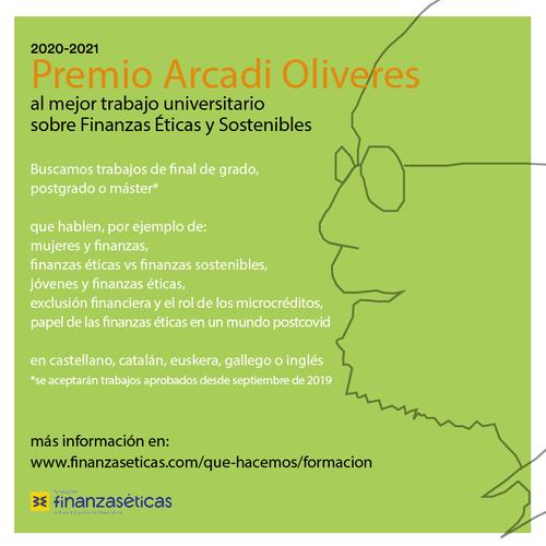 Convocatoria: Premio Arcadi Oliveres al mejor trabajo universitario sobre Finanzas Éticas y Sostenibles