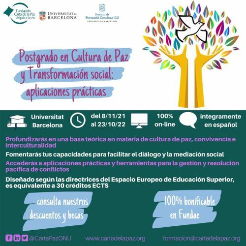 12ª edición del Postgrado en Cultura de Paz y Transformación social