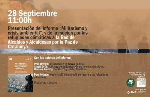 """Cartel de la presentación del informe """"Militarismo y crisis ambiental. Una reflexión necesaria"""""""
