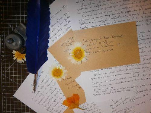 Cartas no amenazantes con un mensaje pacifista y flores secas