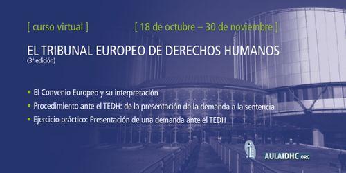 Cartel de la 3a edición del curso 'El Tribunal Europeo de Derechos Humanos'